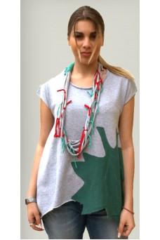 Μπλούζα με απλικέ παράσταση πράσινο φύλο