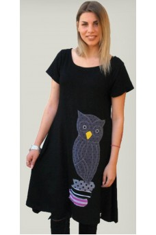 Μπλουζοφόρεμα με απλικέ παράσταση κουκουβάγια
