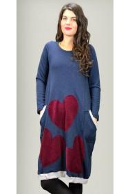 Μπλουζοφόρεμα σε χρώμα μπλε με καρδιές από οργανικό βαμβάκι