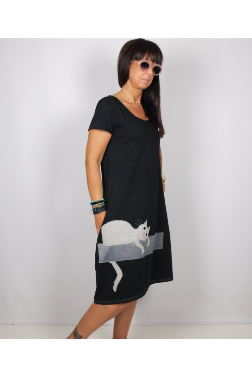 Φόρεμα μακρύ με απλικέ παράσταση μικρή γατούλα