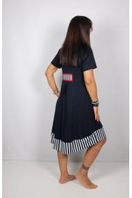 Φόρεμα μακρύ με ριγέ λεπτομέρειες
