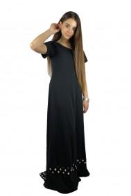 Maxi φόρεμα με πουά ουρά