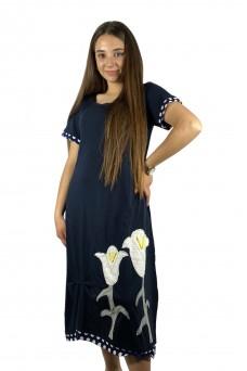 Φόρεμα μπλε navy με κρίνους
