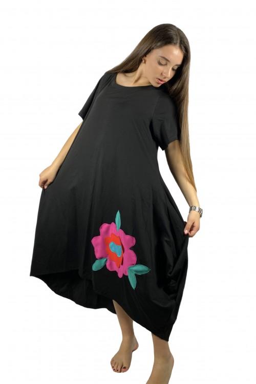 Φόρεμα ασύμμετρο με λουλούδια