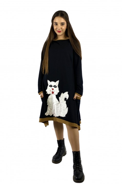 Φόρεμα φούτερ μαύρο γατούλα