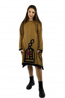 Φόρεμα κάμελ πουλάκι σε κλουβί