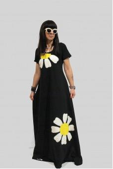 Φόρεμα μακρύ με απλικέ παράσταση μαργαρίτες