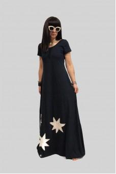 Φόρεμα maxi με απλικέ παράσταση νούφαρο