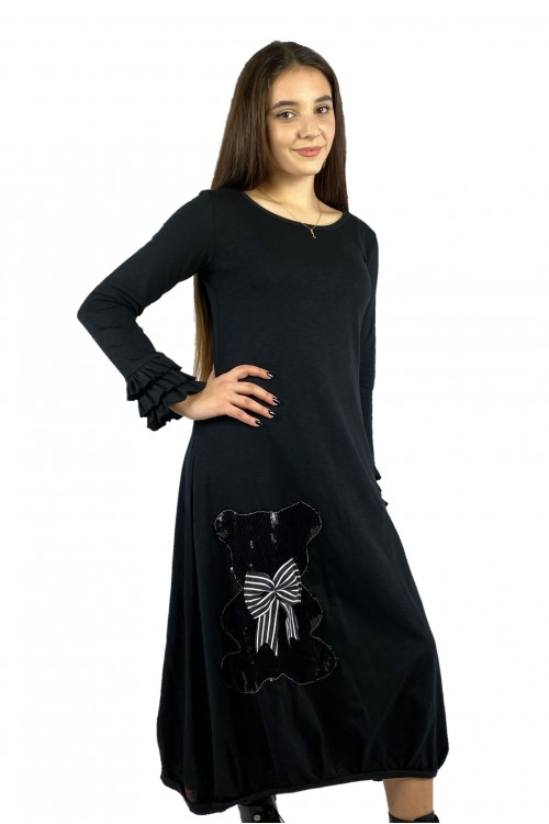 Φόρεμα μαύρο αρκουδάκι
