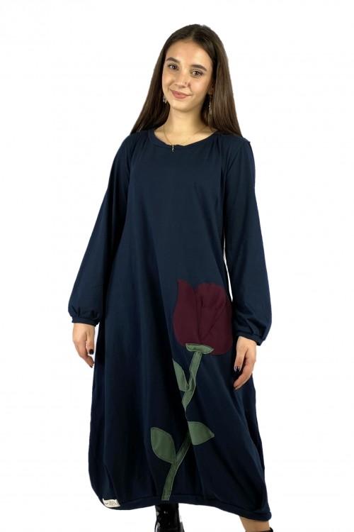 Φόρεμα τριαντάφυλλο μπλε navy-μαύρο
