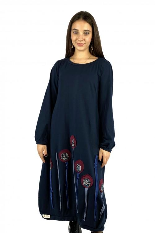 Φόρεμα ανθόκηπος μπλε navy-μαύρο