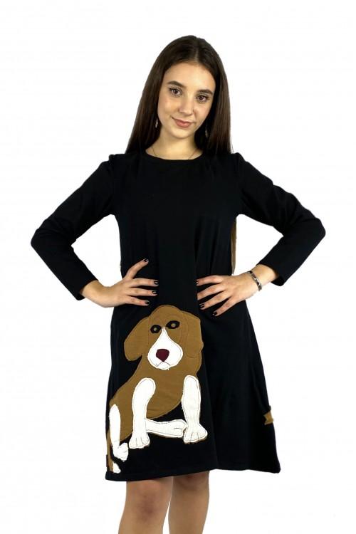 Φόρεμα μαύρο με παράσταση σκύλος