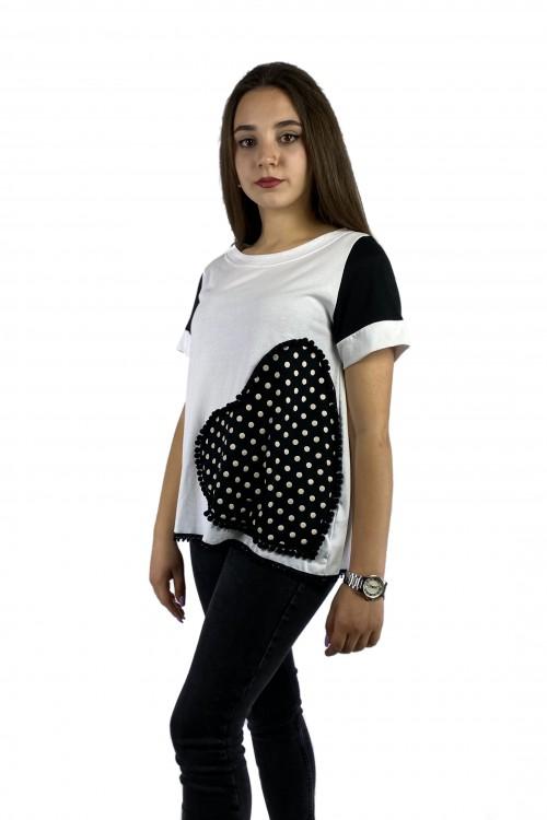 Μπλούζα με απλικέ παράσταση καρδιά