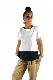 Μπλούζα με απλικέ παράσταση ψαροκόκαλο