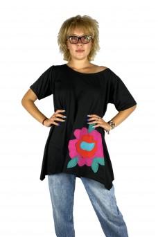 Μπλούζα με απλικέ παράσταση τρισδιάστατο λουλούδι