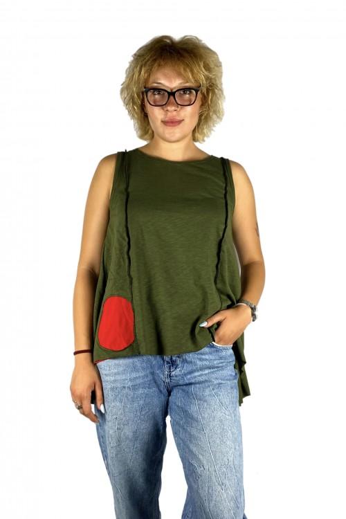 Μπλούζα με απλικέ παράσταση κόκκινα κεράσια