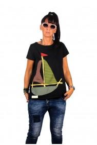 Μπλούζα με απλικέ παράσταση καραβάκι