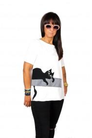 Μπλούζα με απλικέ παράσταση γατούλα