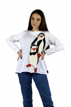 Μπλούζα λευκή απλικέ με πιγκουινάκια