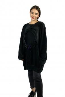 Μπλουζοφόρεμα μαύρο βελουτέ με βολάν λεπτομέρειες
