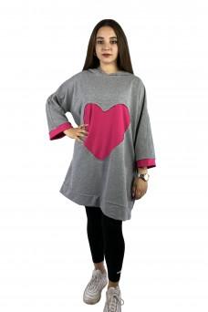 Μπλουζοφόρεμα γκρι φούτερ καρδια
