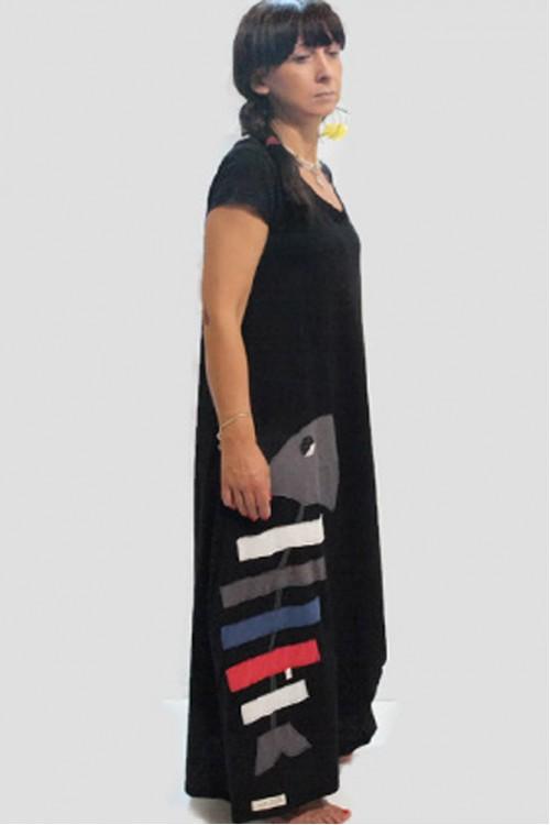 Φόρεμα με απλικέ παράσταση ψαροκόκαλο