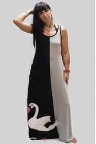 Φόρεμα μακρύ με απλικέ παράσταση κύκνους