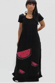 Μακρύ μαύρο φόρεμα με απλικέ παράσταση καρπούζι