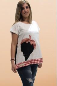 Μπλούζα με απλικέ παράσταση φράουλες