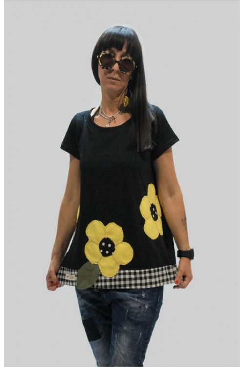 Μπλούζα με απλικέ παράσταση μαργαρίτες