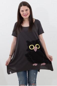 Μπλούζα μαύρη με παράσταση κουκουβάγια