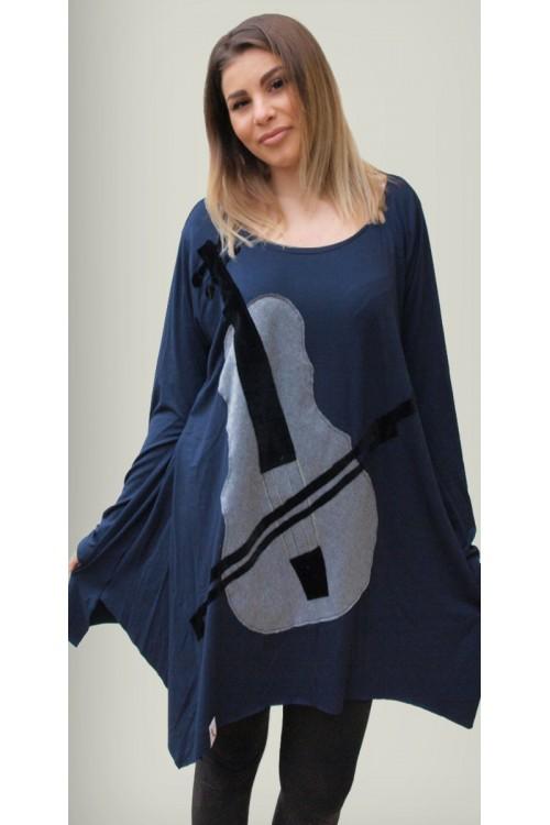 Μπλουζοφόρεμα με απλικέ παράσταση βιολί