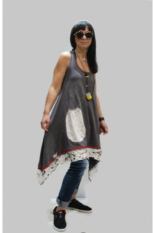 Μπλουζοφόρεμα με απλικέ παράσταση ανανά