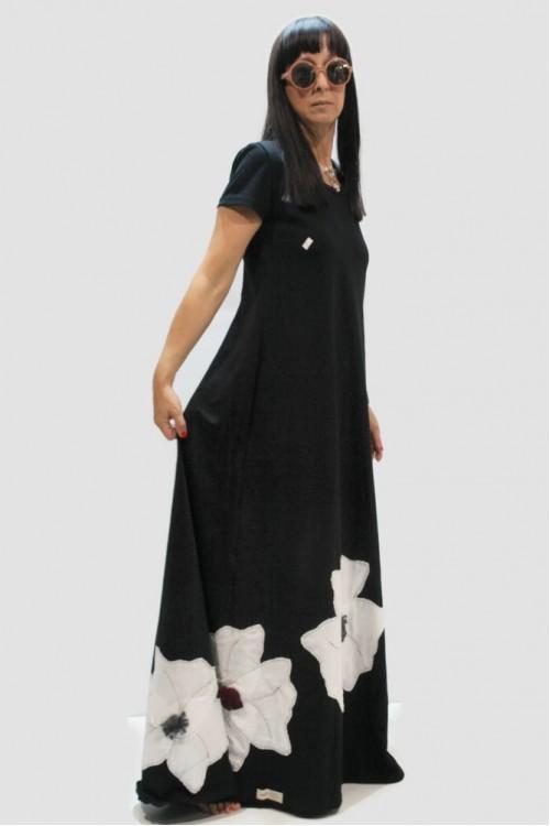 Φόρεμα μακρύ με απλικέ παράσταση λουλούδια