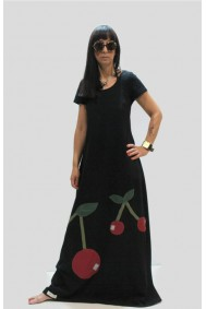 Φόρεμα μακρύ με παράσταση κεράσια