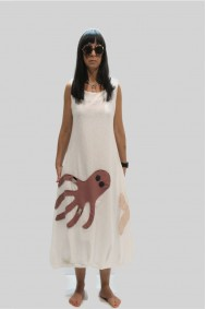 Φόρεμα αμάνικο με απλικέ παράσταση χταπόδι