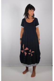 Φόρεμα μακρύ με απλικέ παράσταση