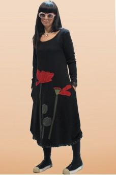 Φόρεμα με απλικέ παράσταση παπαρούνες