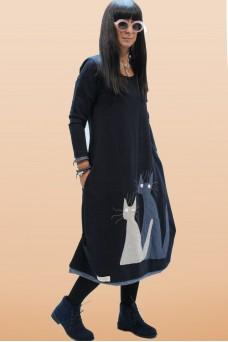 Φόρεμα με απλικέ παράσταση γάτες