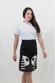 Φούστα με απλικέ παράσταση κουκουβάγια