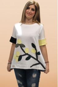 Μπλούζα με απλικέ παράσταση κλαδί λεμονιάς