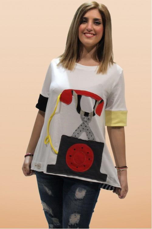 Μπλουζοφόρεμα με απλικέ παράσταση τηλέφωνο