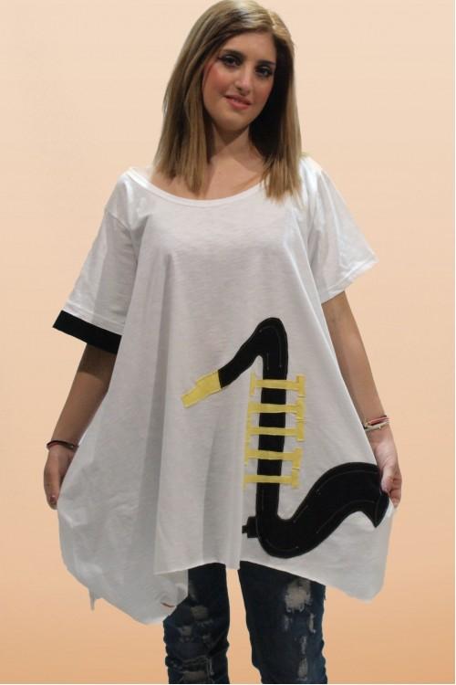 Μπλουζοφόρεμα με απλικέ παράσταση σαξόφωνο