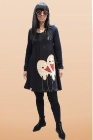 Φόρεμα με απλικέ παράσταση πουλάκια