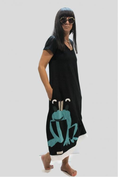 Φόρεμα μακρύ με απλικέ παράσταση βάτραχο