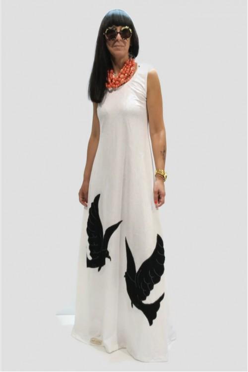 Φόρεμα μακρύ με απλικέ παράσταση χελιδόνια