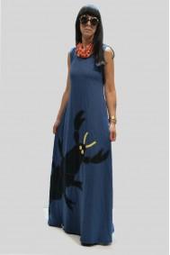 Φόρεμα μακρύ με απλικέ παράσταση καραβίδα