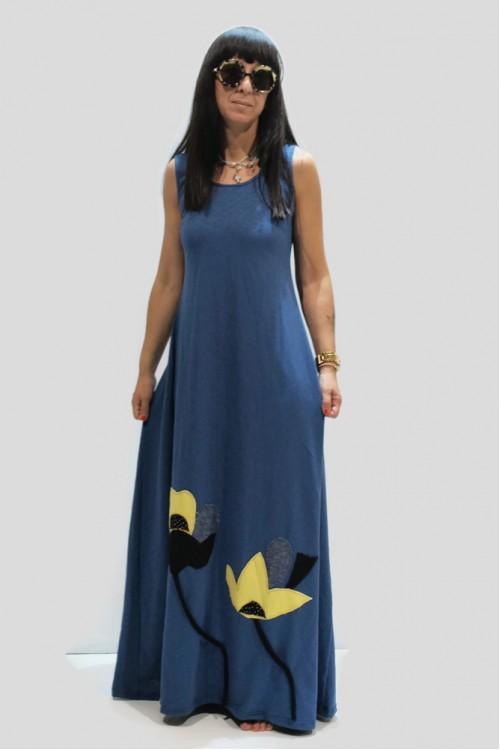 Φόρεμα με απλικέ παράσταση με λουλούδια