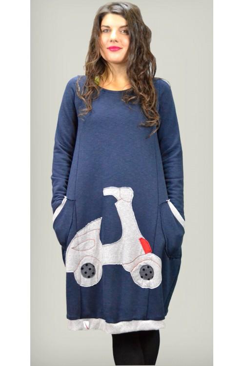 Μπλουζοφόρεμα μπλέ με παράσταση βέσπα