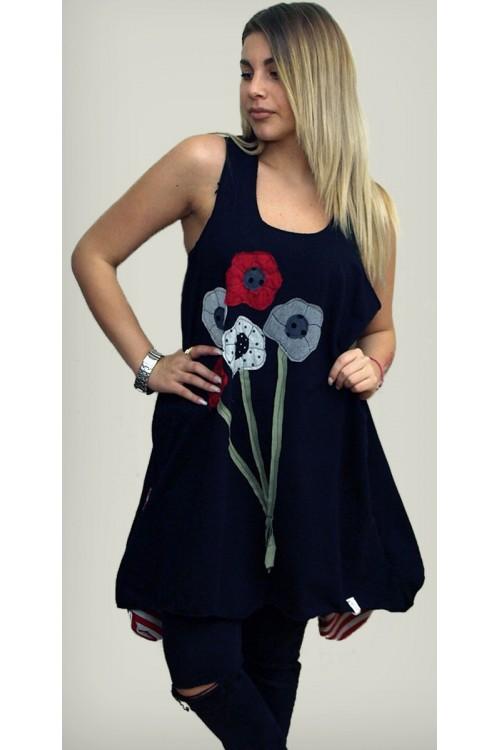 Μπλουζοφόρεμα τιράντα με απλικέ παράσταση λουλούδια